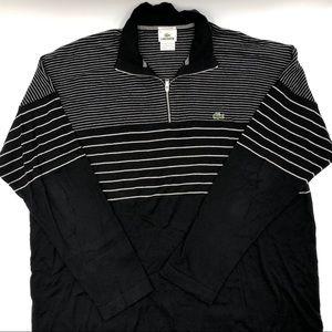 Lacoste Cotton/Cashmere Black & White 1/4 Zip